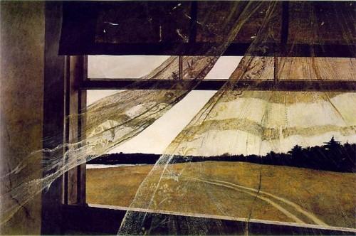 Эндрю Уайет Wind from the Sea (Ветер с моря - вид из окна дома Кристины Олсен) 1947