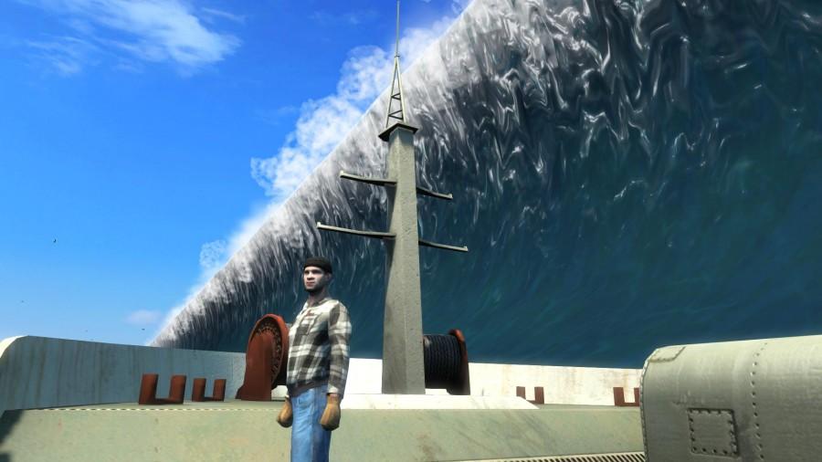 Цунами не та кстрашны как в реальной жизни. Хотя какие цунами в Карибском море???